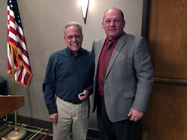 NYSEMA Life Member Peter Alberti (left) with President Niedermaier.